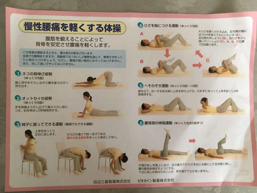 慢性腰痛の体操